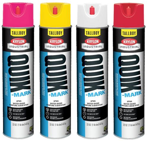 Krylon Quik-Mark Tallboy Water-Based Marking Paints, 25-oz. (22 oz. Net Wt.) Case/ 12 Cans