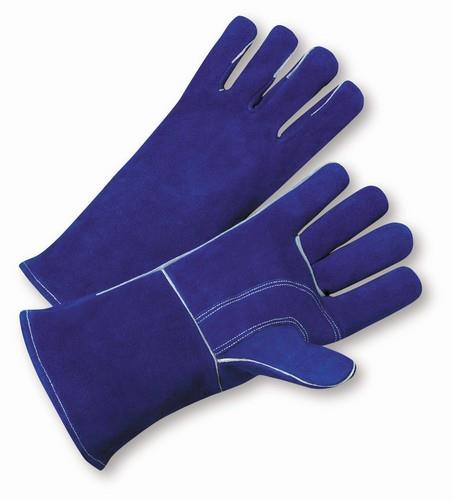 West Chester 945, Premium Blue Split Cowhide Leather, Kevlar Sewn Welders Gloves w/ Gauntlet Cuff