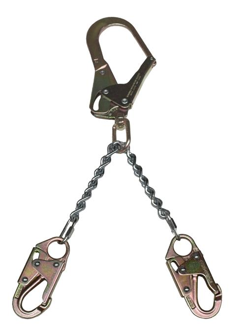 "SafeWaze FS060 Fall Protection Large Steel Swivel Rebar Hook with Double-Locking Snap Hooks; 13"" Chain; 3,600lbs Gate Rated"