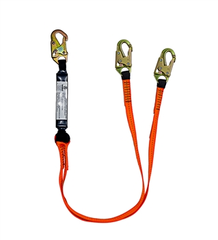 SafeWaze FS88561-E V-Line 6' Dual Leg Lanyard with Shock Absorber & Double Locking Snap Hooks