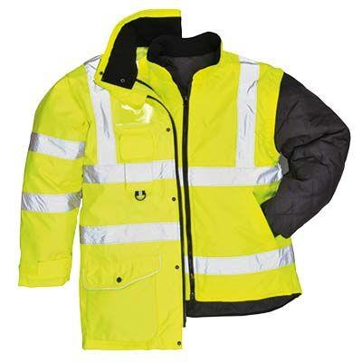 PortWest US427 Hi Vis Green 7-In-1 Class 3 Winter Parka Waterproof 300 Denier Durable Shell with Removable Sleeves and Liner