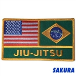 Martial Arts Accessories Patch USA Brazil flags over Jiu-Jitsu