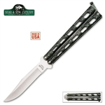 Martial Arts Weapons Knife Rotating Silver Vein Bear Folding Knife