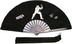 Weapons ITEM: WEA-9201-A1 FIGHTING FAN NINJA 14 3/4x27 1/2 Inches Black  nylon taffeta with aluminum staves Class Sak-01