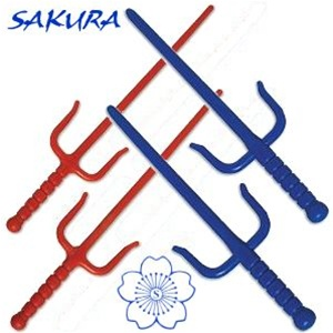 Plastic Rubber Sai Martial Arts Karate Practice Training Weapon Ninja Single