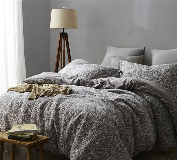 Atacama Desert Queen Duvet Cover - Queen duvet cover oversize in frosted peppercorn