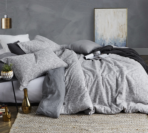 Gray Full XL Comforter Designer Cracked Earth Extra Large Full Cotton Bedding