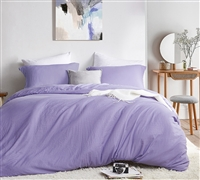 Machine Washable Oversized King Bedding Natural Loft Ultra Thick King Comforter with Removable Daybreak Purple King XL Duvet Cover