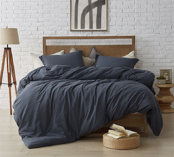 Stylish Faded Black Oversized Comforter with Extra Thickness Best Twin XL, Queen, and King Natural Loft Bedding