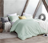 Machine Washable Queen Duvet Cover Encasing Ultra Thick Queen Comforter Insert Hint of Mint Natural Loft Luxury Queen Bedding
