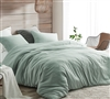 Machine Washable King Luxury Bedding Iceberg Green Natural Loft King Comforter Set with Removable King Extra Large Duvet Cover