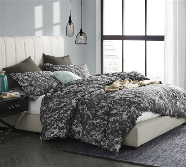 Dark Gray and White King XL Bedding Distraction Unique Oversized King Duvet Cover