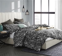 Twin XL Oversized Bedding Distraction Dark Gray and White Oversized Twin XL Duvet Cover