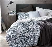 Twin XL Bedspread Oversized Twin Bedding Black and White Scribble Design