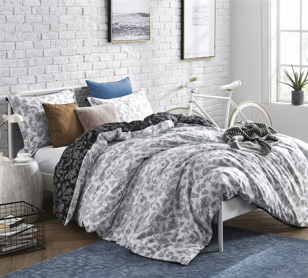 Black and White Queen XL Bedding Stylish Oversized Queen Duvet Cover Moxie Vines Design