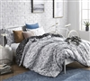 Pretty Moxie Vines Design White and Black Extra Long Twin Bedding Stylish Oversized Twin XL Duvet Cover