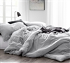 Easy to Match XL Full Comforter Set Cozy Natural Loft Yarn Dyed Gray Oversized Full Bedding Set