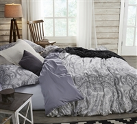 Gray King Oversized Bedding Beautiful Pattern Bliss Stylish King XL Duvet Cover