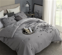 Oversized King Sized Comforter in gray - gray comforter sized King XL for King size bedding extra long