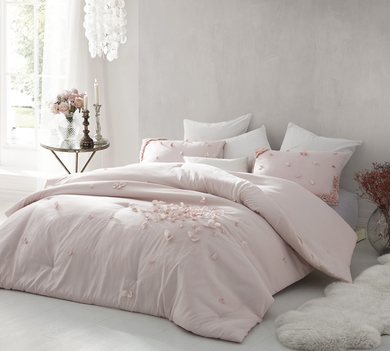 Petals Handsewn Twin Comforter Oversized Twin Xl Soft Ice Pink