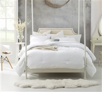 Petals Handsewn King size Comforter - extra long mattress comforter King XL - White color