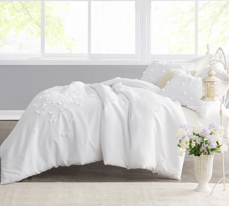 Petals Handsewn King Duvet Cover Oversized Xl White