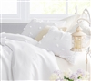 White pillow sham in Queen size - Petals Handsewn comfortable Standard Sham in White