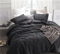 Twist Texture Twin XL Duvet Cover in Black - Oversized Twin XL duvet cover for sale