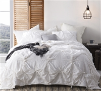 Handcrafted Texture Ties oversized King Comforter sets - white bedding comforter sets sized King extra wide