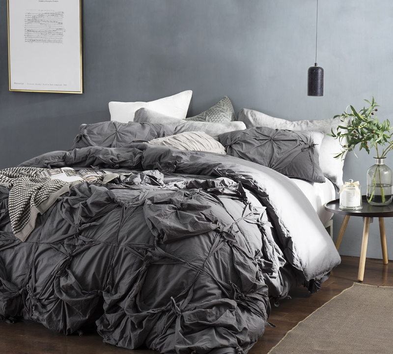 Super Soft Dark Gray Queen Oversized Duvet Cover