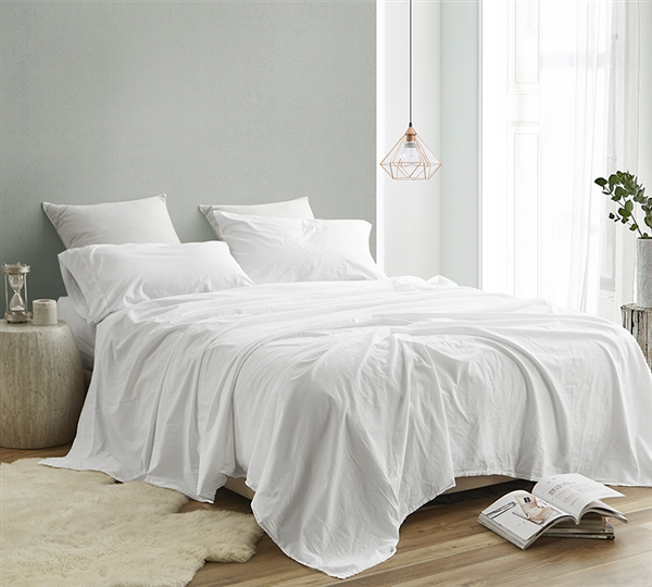Classic White King Bedding Sheets High Quality Saudade Portugal King Sheet Set Made with 200TC Washed Percale