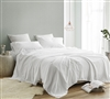Full Extra Large Bedding Sheets Made in Portugal with 200TC Washed Percale 100% Cotton White Saudade XL Full Sheet Set