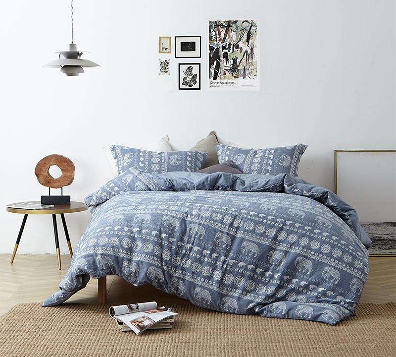 Faded Blue Oversized King Bedding With White Floral And Animal Patterns  Stylish Namaste Unique Extra Large