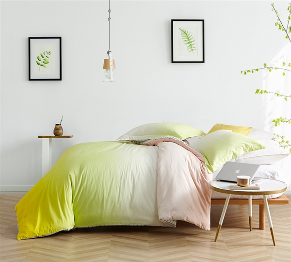 High Quality Oversized King Bedding Popular Ombre Sunshine Yellow King XL Duvet Cover Set