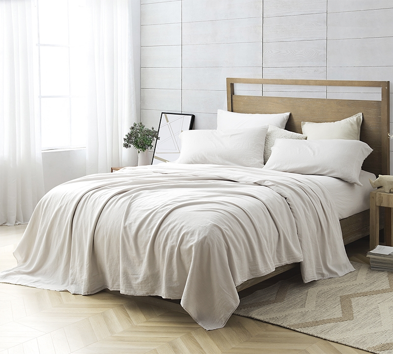Stone Taupe Cal King Bedding Portugal Made 300tc Washed Sateen Bom