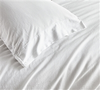 White Standard or King Pillowcase (2-Pack) Saudade Portugal Made 300TC Washed Sateen Essential Bedding