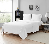 Stylish Saudade Portugal White Sheet Set made with 300TC Washed Sateen Cotton Available in Twin, Twin XL, Full, Full XL, Queen, King, and California King Sizes