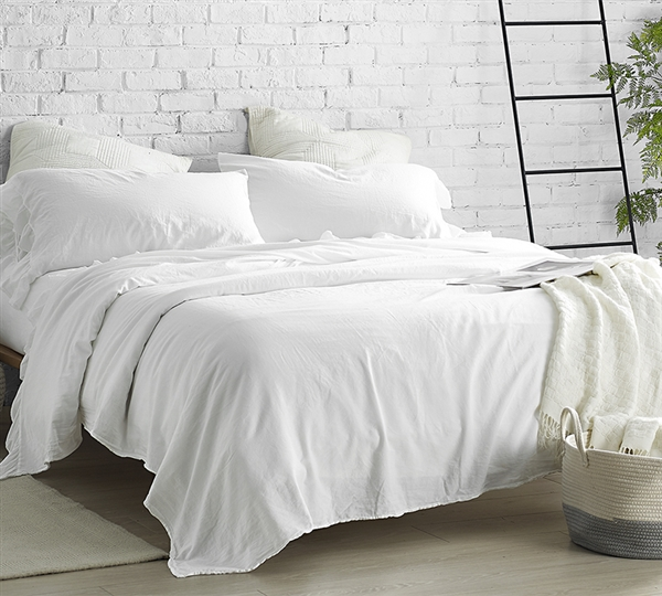 High Quality White Full Sheets Soft Stone Washed Sateen 300TC Full Bedding Made in Portugal Violeta Folho Luxury Full Bedding Sheets