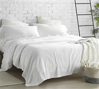 300TC Stone Washed Sateen Violeta Folho Stylish White Twin Sheet Set Made in Portugal