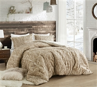 Furry Queen Bedding Essentials True Oversized Plush Queen Comforter Arctic Bear Tundra Brown Coma Inducer