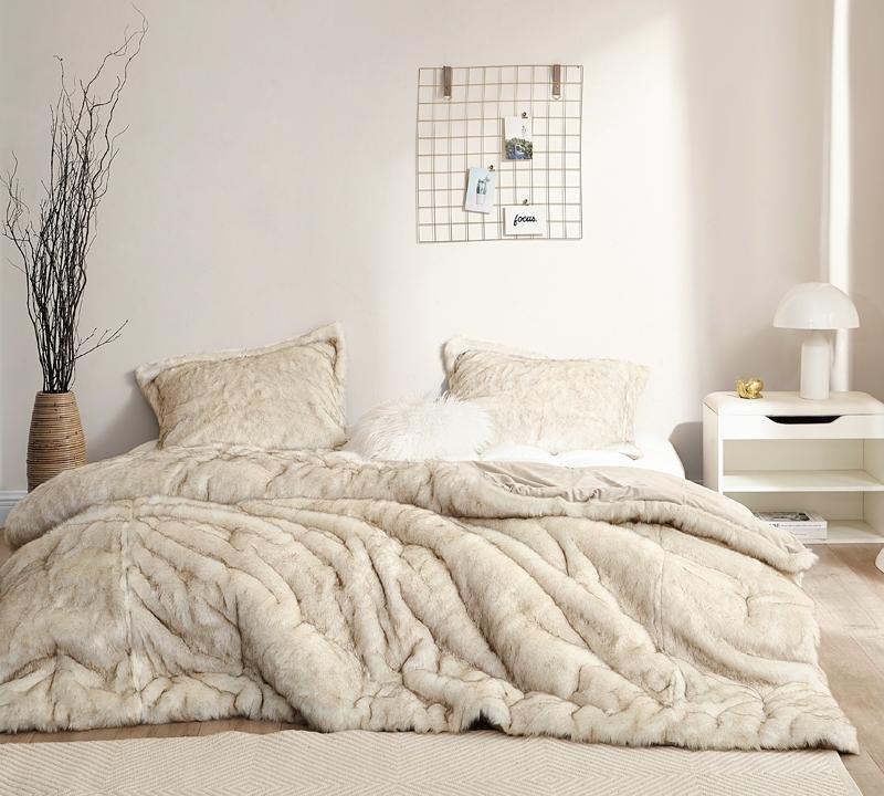 Designer Tan Faux Fur Extra Large Oversized King XL Bedding for