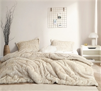 Extra Large Soft and Plush Beige Colored Faux Fur Bedding for Twin XL, Queen XL, or King XL Bed Sets