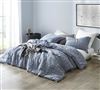Oversized Queen XL Comforter Navy Slate Ultra Cozy Yarn Dyed Cotton Navy Blue Queen Bedding