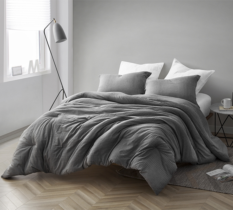 High Quality Twin Extra Long Bedding Easy To Match Gray Depths 100 Yarn Dyed Cotton