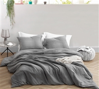 Designer Queen XL Duvet Cover with Unique Pattern Easy to Match Gray Depths 100% Yarn Dyed Cotton Cozy Queen Bedding