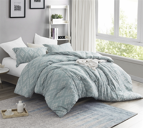 Most Comfortable King Oversized Comforter Designer Argyle Moda Pattern Super Soft Cotton King XL Bedding