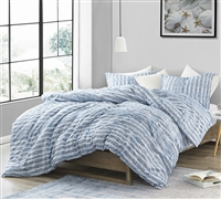 True Oversized Twin XL, Queen, and King Bedding Stylish Modern Striped Design Supersoft Microfiber Aura Blue XL Comforter