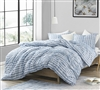 Blue and White Queen Oversized Comforter Stylish Striped Aura Blue Super Soft Microfiber Queen Bedding