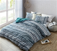 Stylish Zanzibar Teal and White Designer Twin XL, Queen, or King Duvet Cover Super Soft Microfiber Oversize Bedding