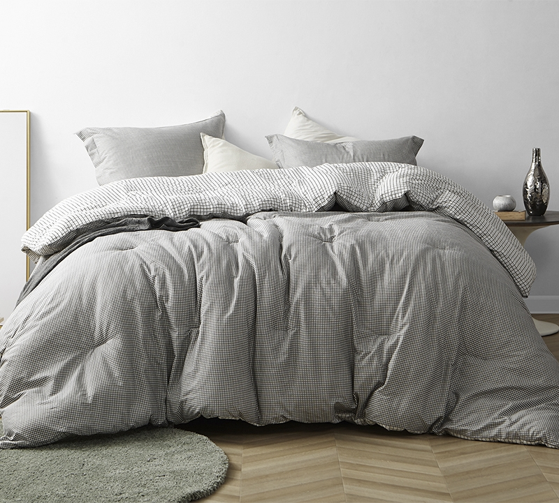 Stylish Gray King Cotton Bedding Decor True Oversized Xl Comforter Designer Gingham